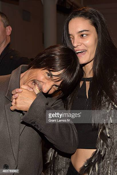Anthony Kiedis and Wanessa Milhomem attend the Jeremy Scott show during MADE Fashion Week Fall 2015 at Milk Studios on February 18 2015 in New York...