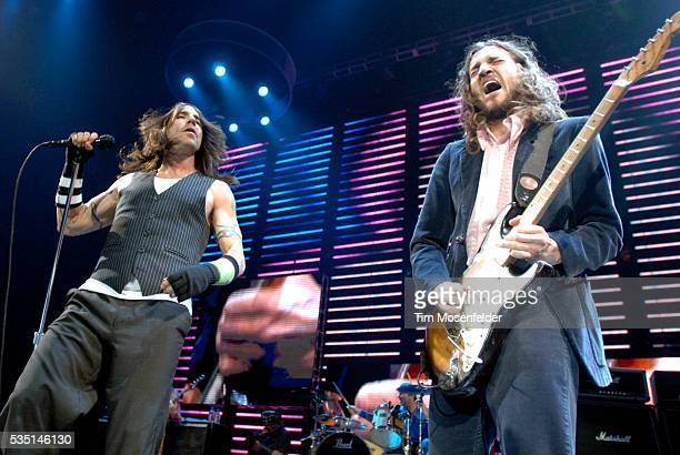 Anthony Kiedis drummer Chad Smith and guitarist John Frusciante of The Red Hot Chili Peppers perform part of the bands Stadium Arcadium release at...
