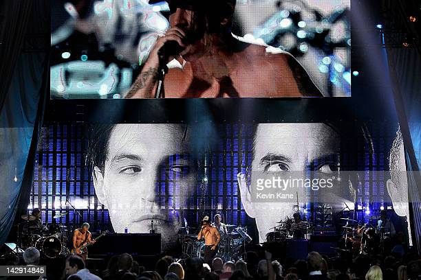 Anthony Kiedis Jack Irons Cliff Martinez Chad Smith Josh Klinghoffer and Michael Balzary aka Flea of Red Hot Chili Peppers perform on stage during...