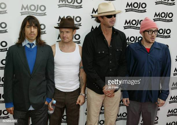 """Anthony Kiedis, Michael 'Flea' Balzary, John Frusciante and Chad Smith all of the Red Hot Chilli Peppers arrive at the """"The Mojo Honours List Music..."""