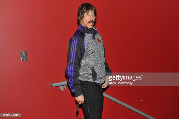 Anthony Kiedis of Red Hot Chili Peppers attends a basketball game between the Los Angeles Lakers and the Houston Rockets at Staples Center on October...