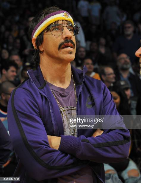Anthony Kiedis of Red Hot Chili Peppers attends a basketball game between the Los Angeles Lakers and the New York Knicks at Staples Center on January...