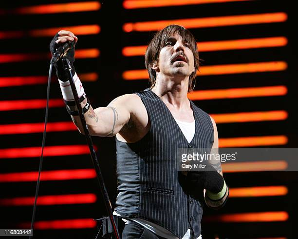 Anthony Kiedis of Red Hot Chili Peppers during Coachella Valley Music and Arts Festival Day Two Red Hot Chili Peppers at Empire Polo Field in Indio...