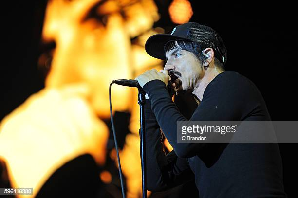 Anthony Kiedis of Red Hot Chili Peppers headlines on the Main Stage during Day 2 of the Reading Festival at Richfield Avenue on August 27, 2016 in...