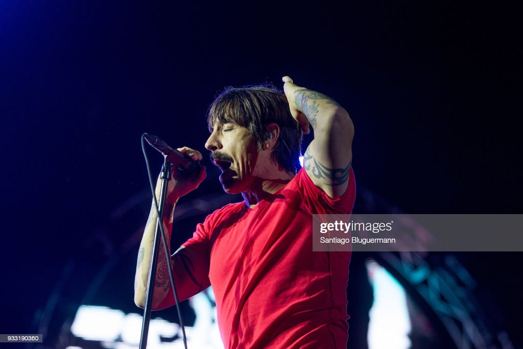 Anthony Kiedis of Red Hot Chili Peppers performs during the first day of Lollapalooza Buenos Aires 2018 at Hipodromo de San Isidro on March 16, 2018 in Buenos Aires, Argentina.