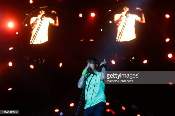 Anthony Kiedis of Red Hot Chili Peppers performs during the second day of Lollapalooza Chile 2018 at Parque O'Higgins on March 17 2018 in Santiago...