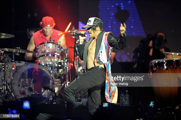Anthony Kiedis of Red Hot Chili Peppers performs during the secret concert on August 30 2011 in Cologne Germany