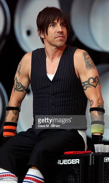 Anthony Kiedis of Red Hot Chili Peppers performs on stage during the Live Earth London concert at Wembley Stadium on July 7 2007 in London England...