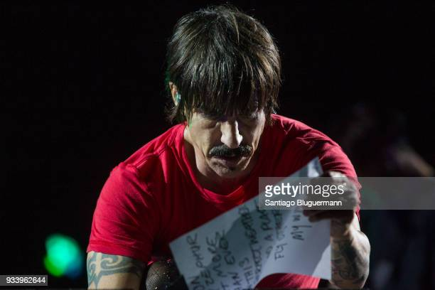 Anthony Kiedis of Red Hot Chili Peppers reads the set list during the first day of Lollapalooza Buenos Aires 2018 at Hipodromo de San Isidro on March...