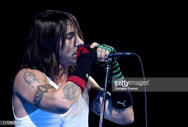 Anthony Kiedis of the Red Hot Chili Peppers during Red Hot Chili Peppers in Concert at the Manchester Evening News Arena July 11 2006 at Manchester...
