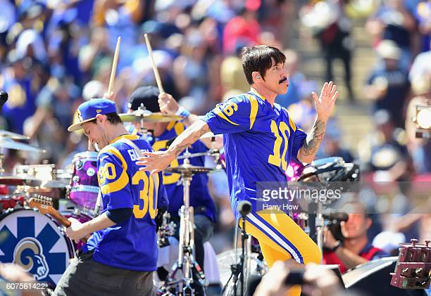 Anthony Kiedis of the Red Hot Chili Peppers performs before the Los Angeles Rams home opening NFL game against the Seattle Seahawks at Los Angeles...