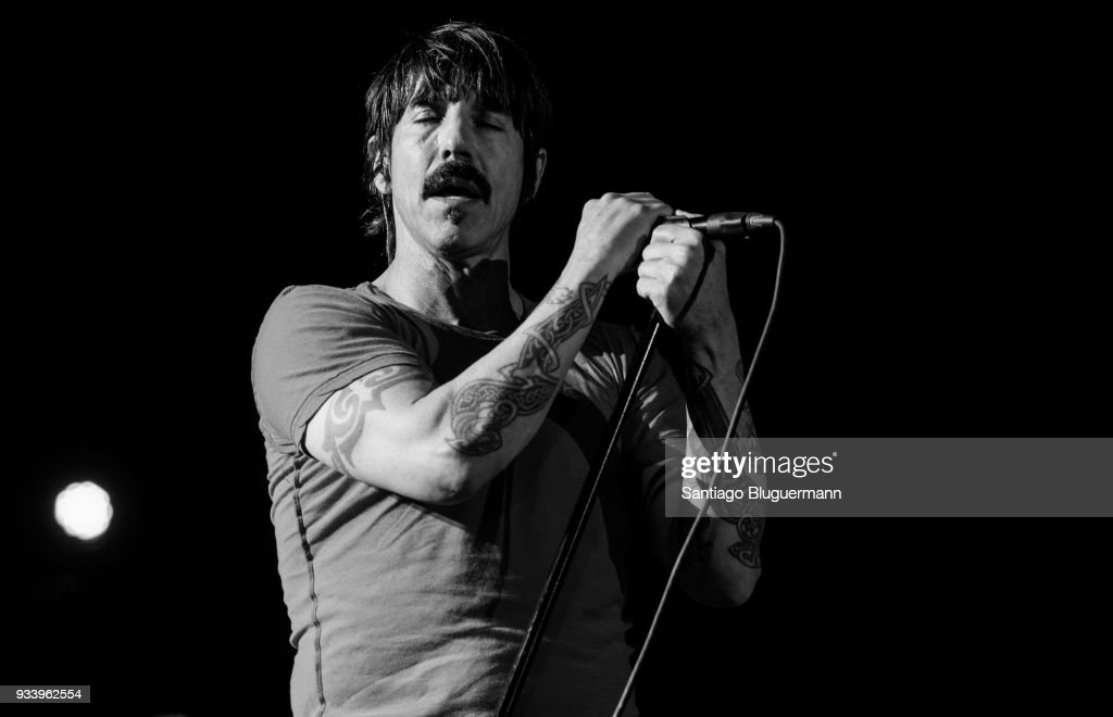 Anthony Kiedis singer of Red Hot Chili Peppers performs during the first day of Lollapalooza Buenos Aires 2018 at Hipodromo de San Isidro on March 16, 2018 in Buenos Aires, Argentina.