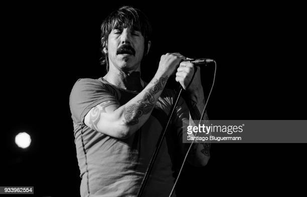 Anthony Kiedis singer of Red Hot Chili Peppers performs during the first day of Lollapalooza Buenos Aires 2018 at Hipodromo de San Isidro on March 16...