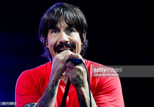 Anthony Kiedis singer of Red Hot Chili Peppers performs during the Lollapaloosa Sao Paulo 2018 Day 1 on March 23 2018 in Sao Paulo Brazil