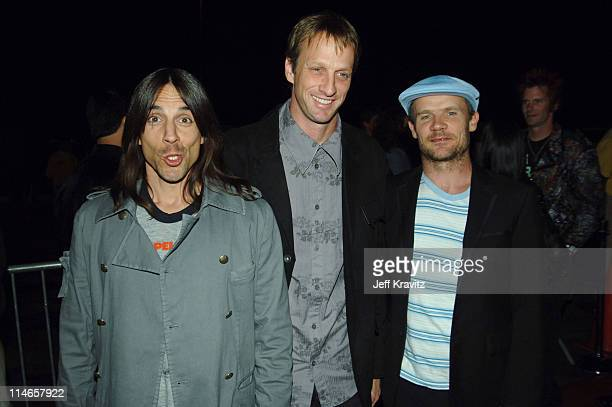 Anthony Kiedis, Tony Hawk and Flea during 2005 Spike TV Video Game Awards - Red Carpet at Gibson Amphitheater in Universal City, California, United...