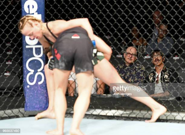 Anthony Kiedis watches Emily Whitmire and Jamie Moyle in their women's strawweight fight during the UFC 226 event inside TMobile Arena on July 7 2018...