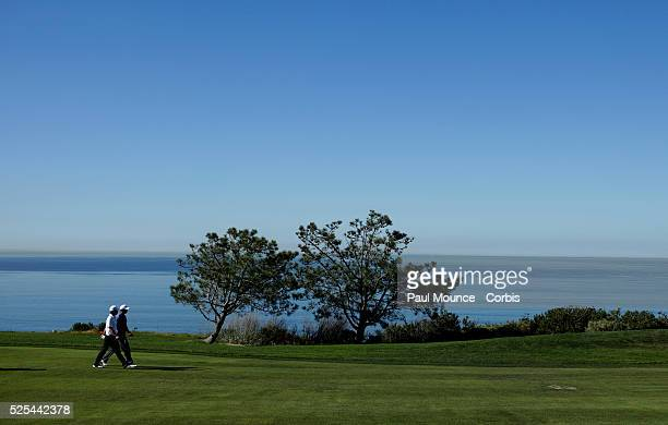 Anthony Kim and Tiger Woods on the 4th Hole during the Farmers Insurance Open held at Torrey Pines Golf Course