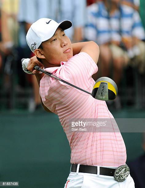 Anthony Kim hits from the first tee box during the final round of the ATT National held on the Blue Golf Course at Congressional Country Club on July...