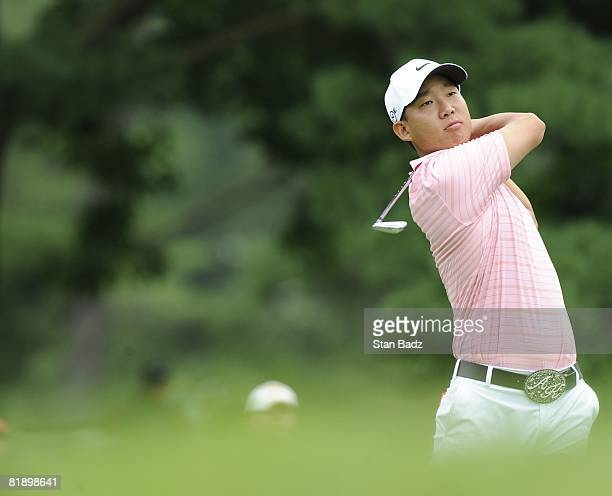 Anthony Kim hits from the second tee box during the final round of the ATT National held on the Blue Golf Course at Congressional Country Club on...