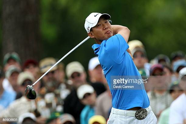 Anthony Kim hits his tee shot on the 17th hole during the second round of the 2009 Masters Tournament at Augusta National Golf Club on April 10 2009...