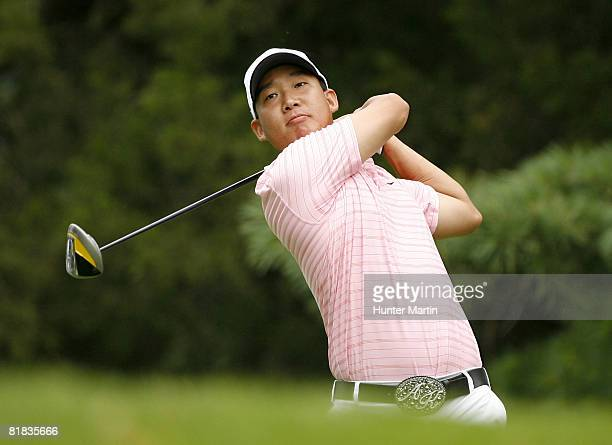 Anthony Kim hits his tee shot on the 3rd hole during the final round of the ATT National at Congressional Country Club on July 6 2008 in Bethesda...