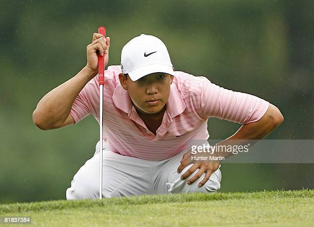 Anthony Kim lines up his birdie putt on the 15th hole during the final round of the ATT National at Congressional Country Club on July 6 2008 in...