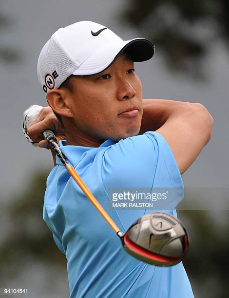 Anthony Kim of the US watches his 2nd hole tee shot at the Sherwood Country Club on day three of the Chevron World Challenge in Thousand Oaks...