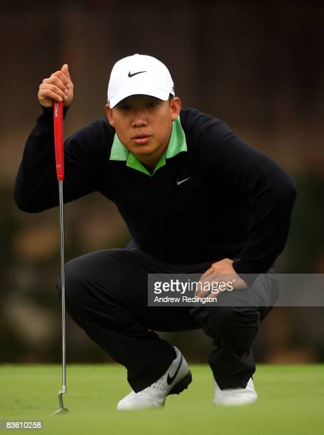 Anthony Kim of the USA lines up a putt on the fourth hole during the second round of the HSBC Champions at Sheshan Golf Club on November 8, 2008 in...
