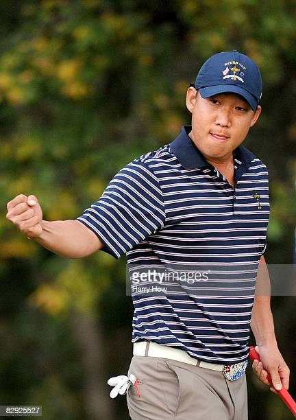 Anthony Kim of the USA team celebrates his birdie to win the third hole during the morning foursome matches on day two of the 2008 Ryder Cup at...