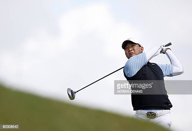 Anthony Kim of USA in action on the 2nd tee in the fourth round at The Open golf tournament at Royal Birkdale in Southport in north-west England, on...