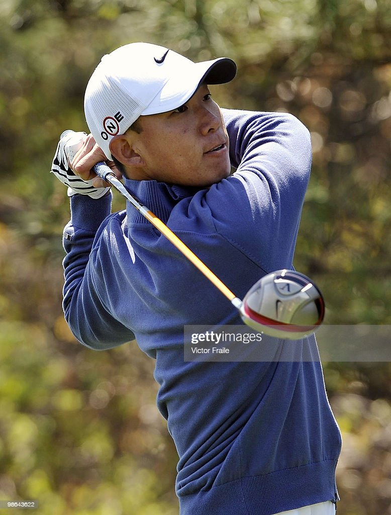 Anthony Kim of USA tees off on the 15th hole during the Round Two of the Ballantine's Championship at Pinx Golf Club on April 24, 2010 in Jeju island, South Korea.