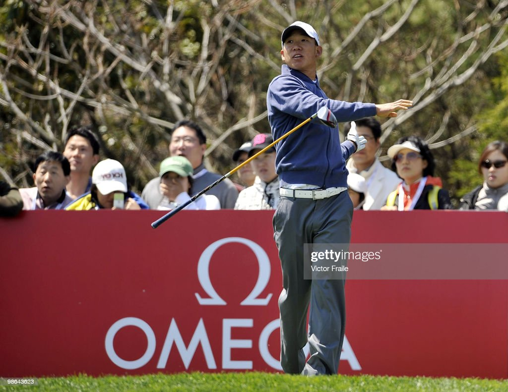 Anthony Kim of USA tosses his club after tee off on the 16th hole during the Round Two of the Ballantine's Championship at Pinx Golf Club on April 24, 2010 in Jeju island, South Korea.