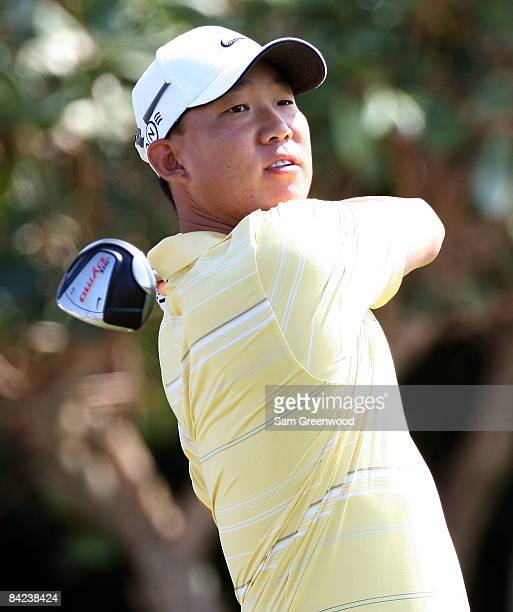 Anthony Kim plays a shot during the third round of the Mercedes-Benz Championship at the Plantation Course on January 10, 2009 in Kapalua, Maui,...
