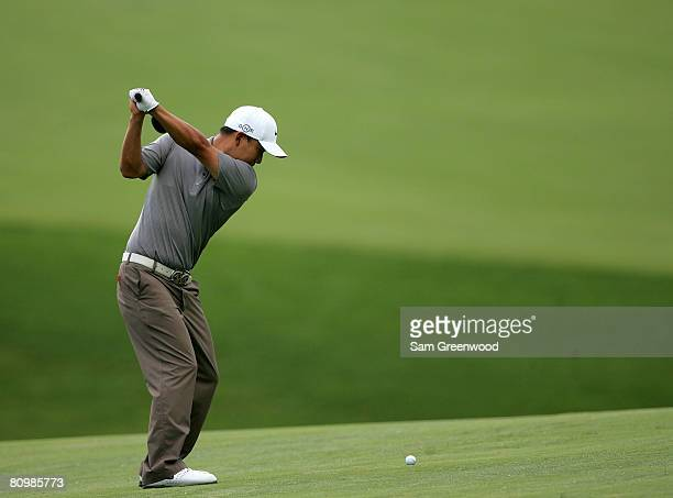 Anthony Kim plays a shot on the 15th hole during the final round of the Wachovia Championship at Quail Hollow Country Club on May 4 2008 in Charlotte...