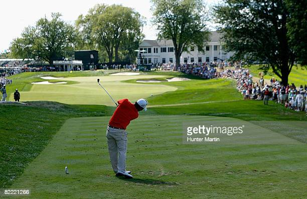 Anthony Kim plays his tee shot on the ninth hole during round two of the 90th PGA Championship at Oakland Hills Country Club on August 8 2008 in...