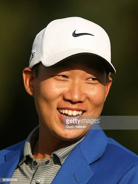 Anthony Kim smiles after his fivestroke victory at the Wachovia Championship at the Quail Hollow Country Club on May 4 2008 in Charlotte North...