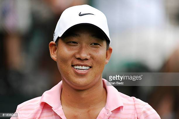 Anthony Kim smiles from the first tee box during the final round of the ATT National held on the Blue Golf Course at Congressional Country Club on...