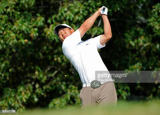 Anthony Kim tees off on during the final round of THE TOUR Championship presented by CocaCola at East Lake Golf Club on September 28 2008 in Atlanta...