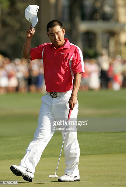 Anthony Kim thanks the crowd on the 18th hole during the final round of the Verizon Heritage at Harbour Town Golf Links April 20 2008 in Hilton Head...