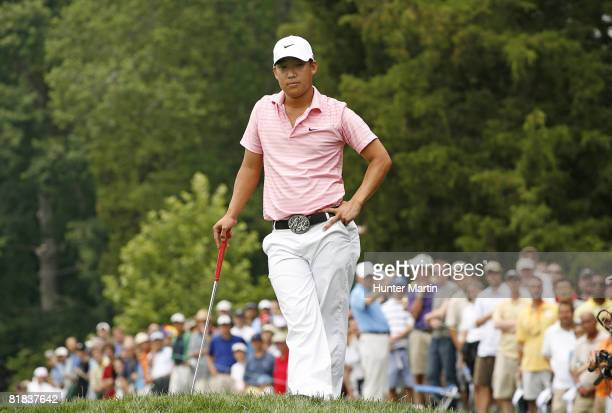 Anthony Kim waits to putt on the 15th hole during the final round of the ATT National at Congressional Country Club on July 6 2008 in Bethesda...