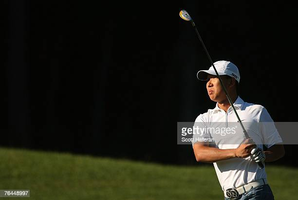 Anthony Kim watches his approach shot on the second hole during the second round of the Deutsche Bank Championship the second event of the new PGA...