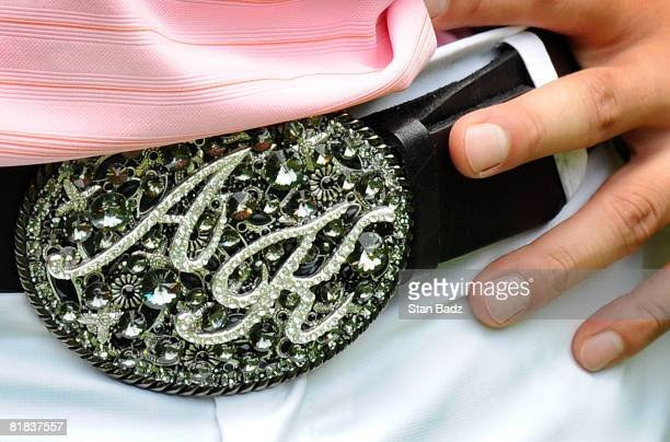 Anthony Kim wears a decorative belt buckle during the final round of the ATT National held on the Blue Golf Course at Congressional Country Club on...