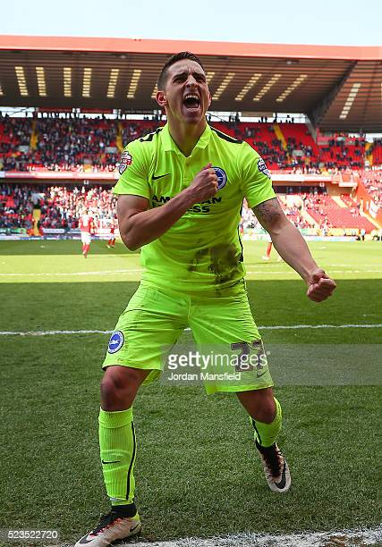 Anthony Knockaert celebrates as team mate Tomer Hemed of Brighton Hove Albion scores their sides third goal during the Sky Bet Championship match...