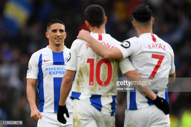 Anthony Knockaert Florin Andone and Beram Kayal of Brighton and Hove Albion celebrate following the Premier League match between Brighton Hove Albion...
