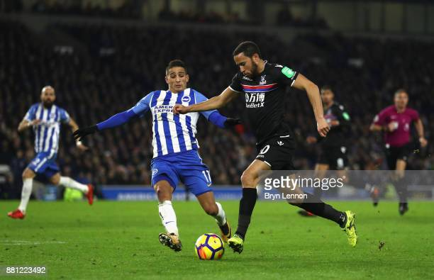 Anthony Knockaert of Brighton and Hove Albion and Andros Townsend of Crystal Palace in action during the Premier League match between Brighton and...