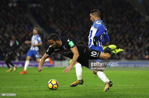 Anthony Knockaert of Brighton and Hove Albion and Andros Townsend of Crystal Palace clash during the Premier League match between Brighton and Hove...