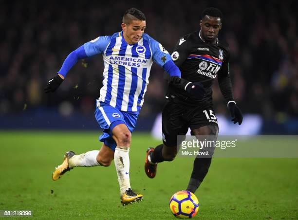 Anthony Knockaert of Brighton and Hove Albion and Jeffrey Schlupp of Crystal Palace during the Premier League match between Brighton and Hove Albion...
