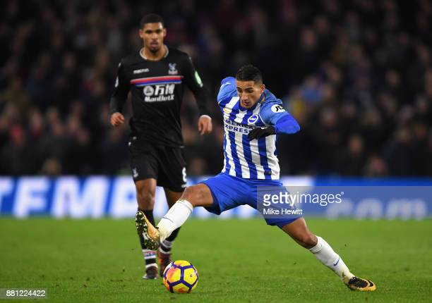 Anthony Knockaert of Brighton and Hove Albion and Ruben LoftusCheek of Crystal Palace during the Premier League match between Brighton and Hove...