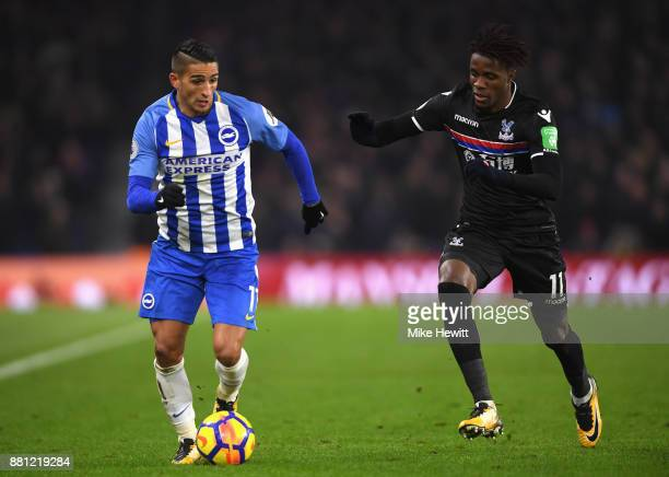 Anthony Knockaert of Brighton and Hove Albion and Wilfried Zaha of Crystal Palace in action during the Premier League match between Brighton and Hove...