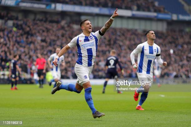 Anthony Knockaert of Brighton and Hove Albion celebrates after scoring his team's first goal during the FA Cup Fifth Round match between Brighton and...